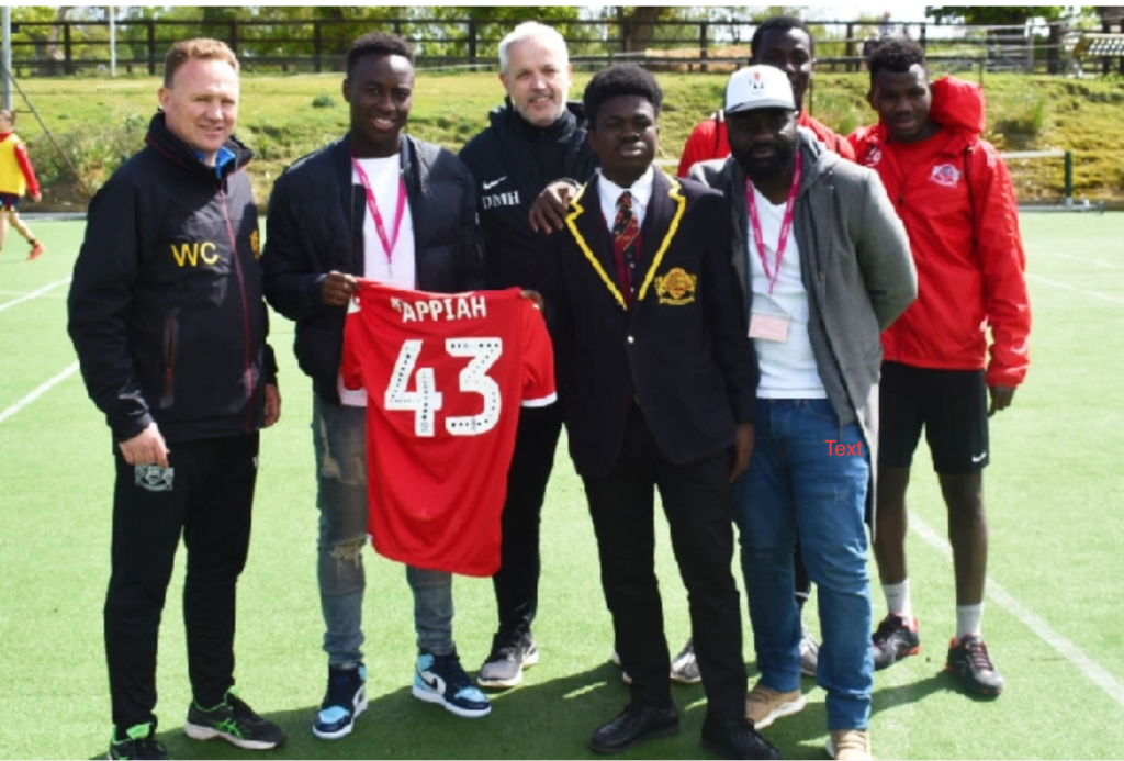 Nottingham Forest star Arvin Appiah advises students of Buckswood Football Academy