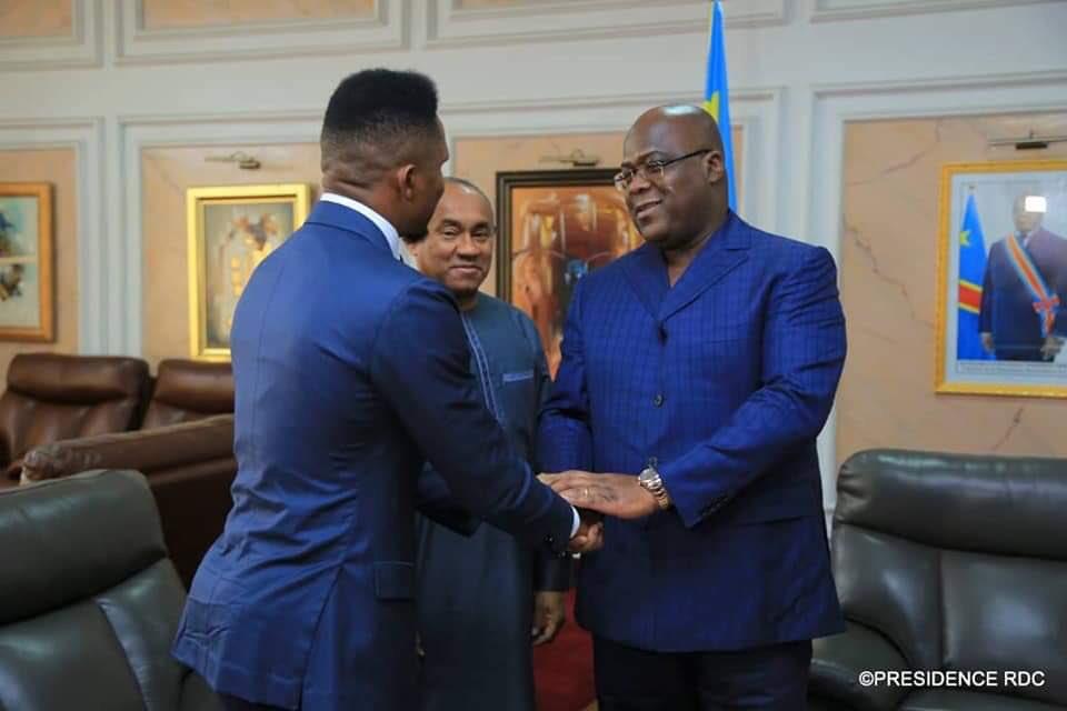 Samuel Etoó takes his chance to greet DR Congo President Tshisekedi