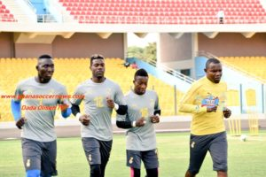 Richard Kingston (far right) is Ghana goalkeepers' trainer