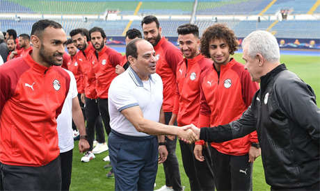 PHOTOS: Egypt President Sisi visits Pharaohs ahead of Afcon kick off