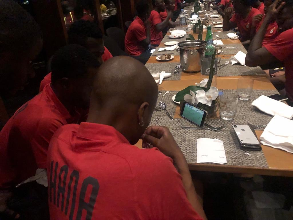 Black Stars players watch NC Special Competition semifinal clash between Hearts and Kotoko