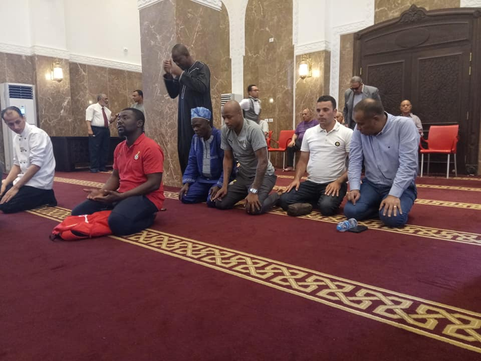 PHOTOS: Black Stars players observe Jumah prayers in Ismailia