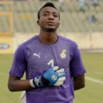 Ghana goalkeeper Felix Annan congratulates Kotoko teammates after victory over Hearts