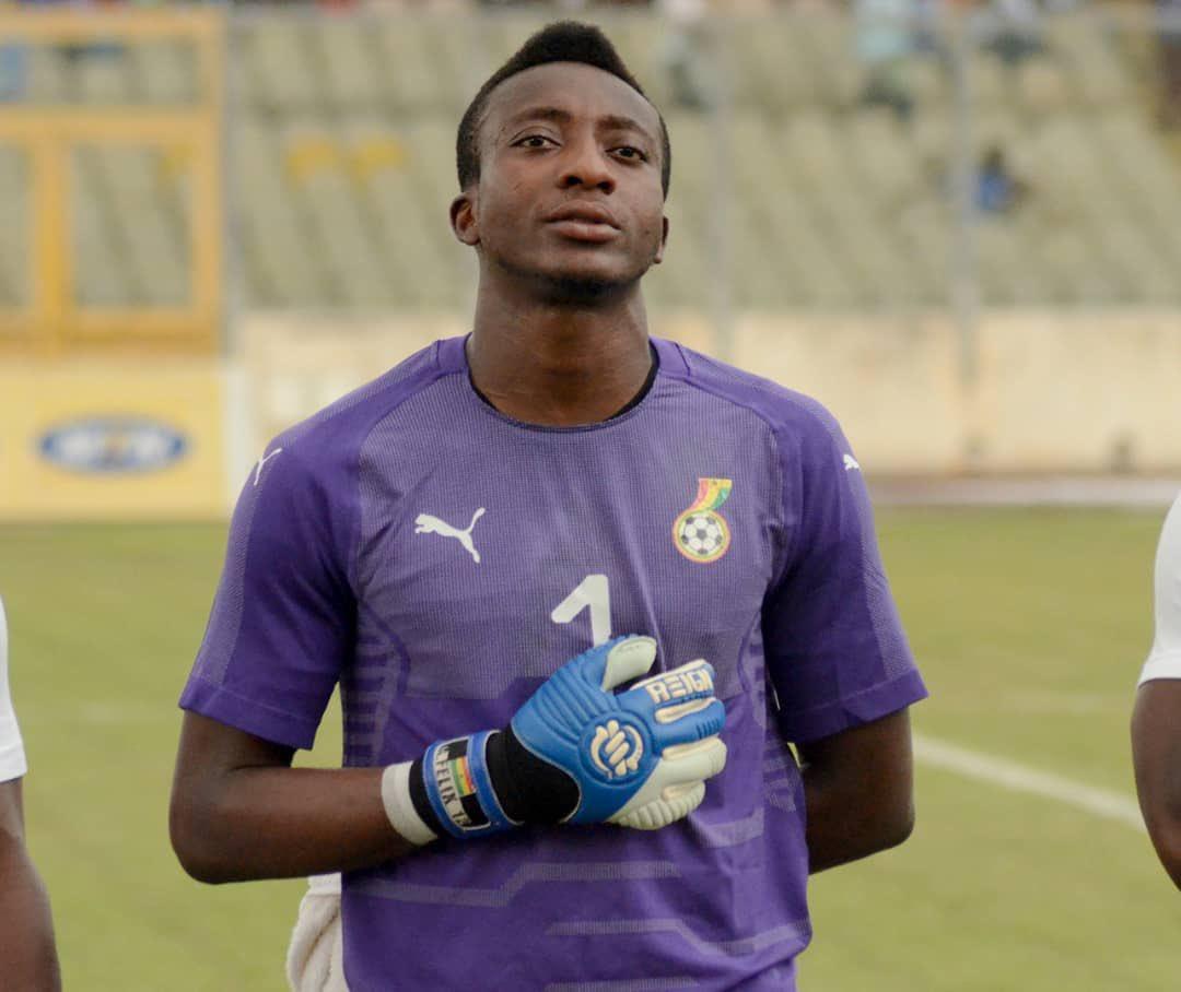 Ghana goalkeeper Felix Annan congratulates Kotoko teammates after victory over Hearts