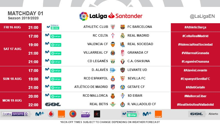 LaLiga confirm kick-off times for the first three Matchdays of the 2019/20 season