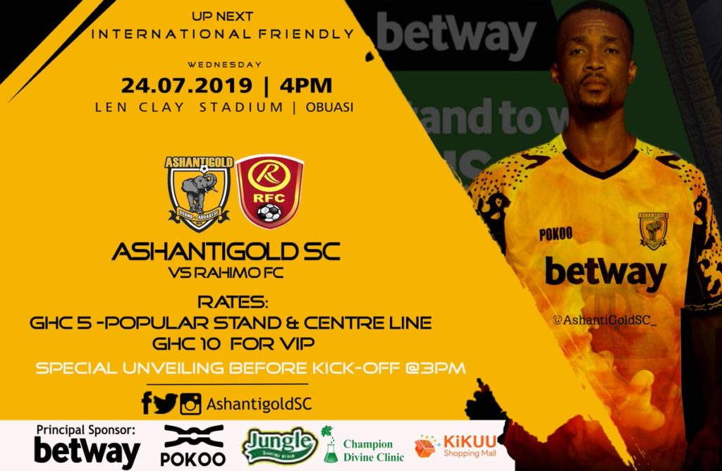 Ashantigold line up international friendly against Burkinabe side Rahimo FC on Wednesday