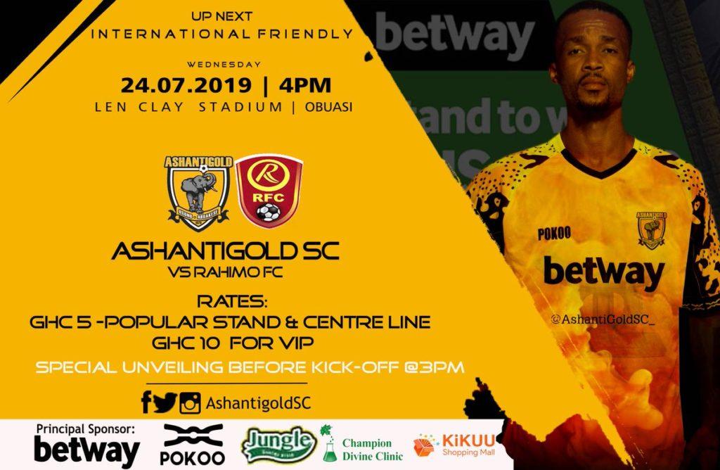 Ashantigold line up international friendly against Burkinabe side Rahimo FC on Wednesday
