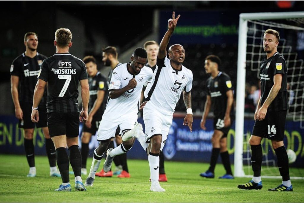 André Ayew thanks Swansea City fans after breaking goalscoring duck in Carabao Cup victory