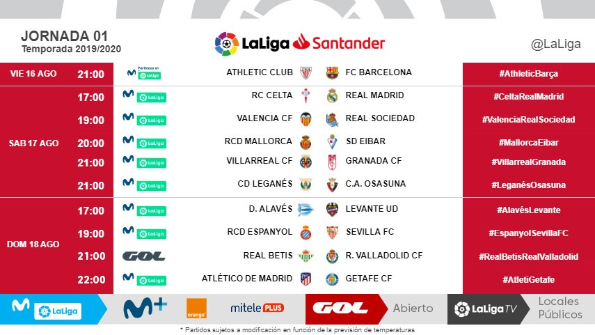 Change of kick-off times: LaLiga Santander and LaLiga Smartbank Matchday 1
