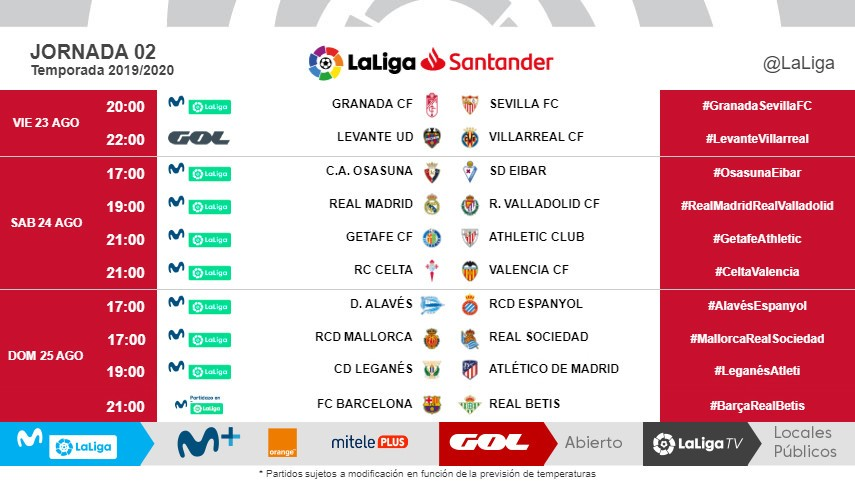 Changes to Kick-Off Times of Matchday 2 of LaLiga Santander