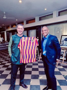 Hearts coach Kim Grant present new Umbro kit to British High Commissioner to Ghana