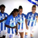 Black Queens forward Princella Adubea models in new Sporting Huelva jersey ahead of season opener