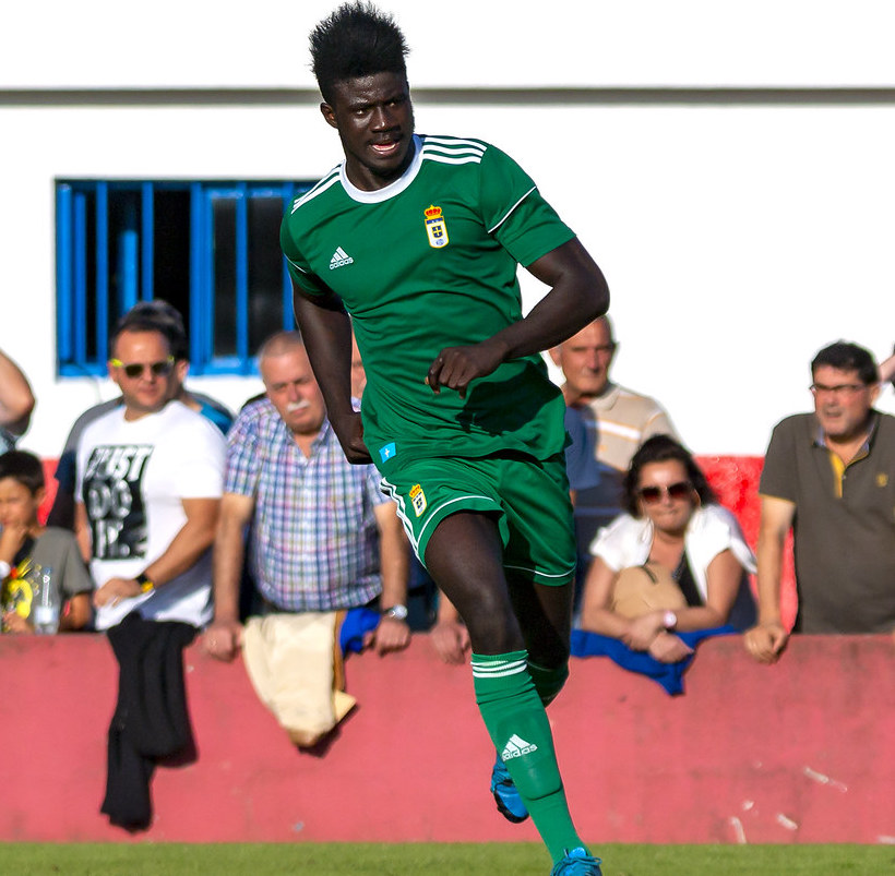 Samuel Obeng trains with Real Oviedo first team