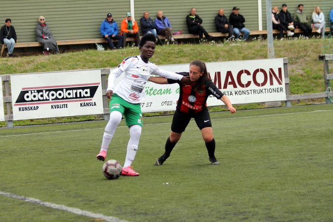 Ernestina Abambilla scores to earn a draw for Swedish Elitettan side Assi IF