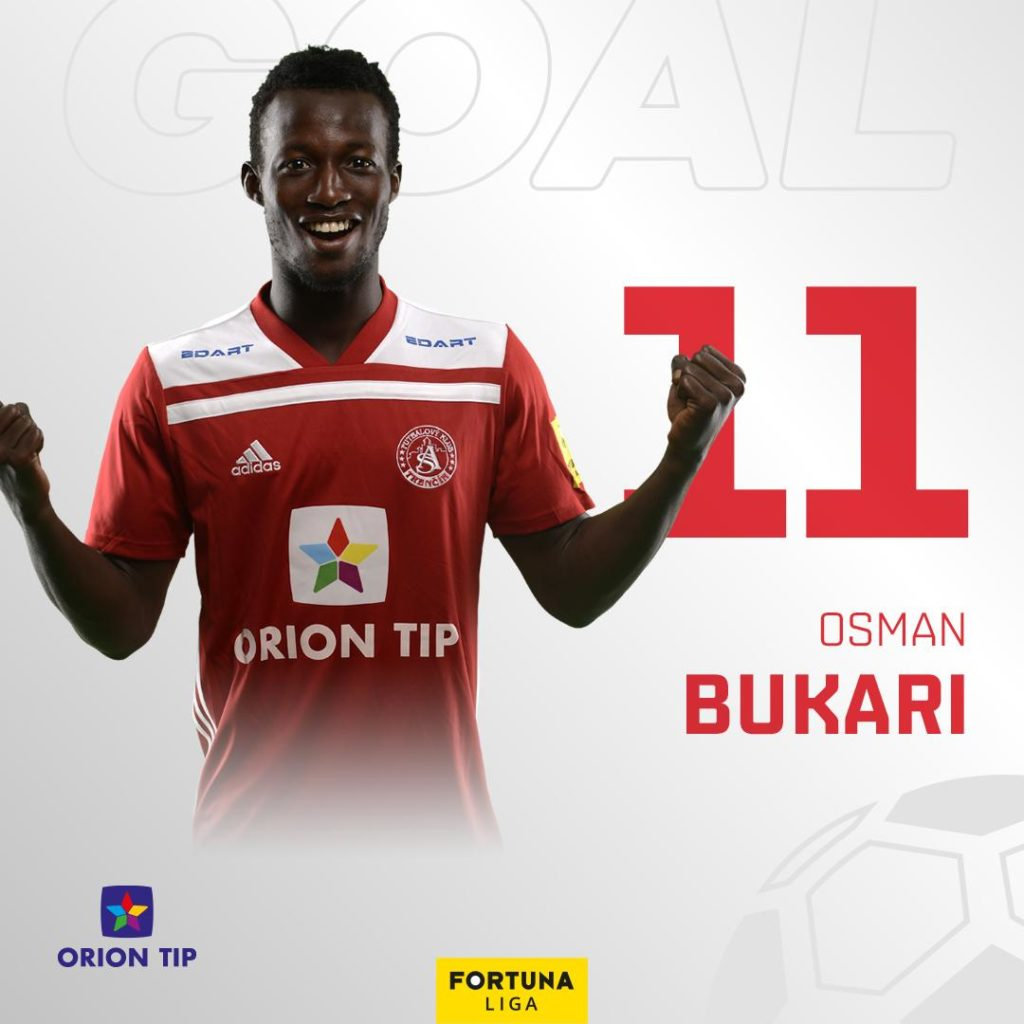 Video: Ghana U23 star Osman Bukari scores in Trencin big win in Slovak top-flight