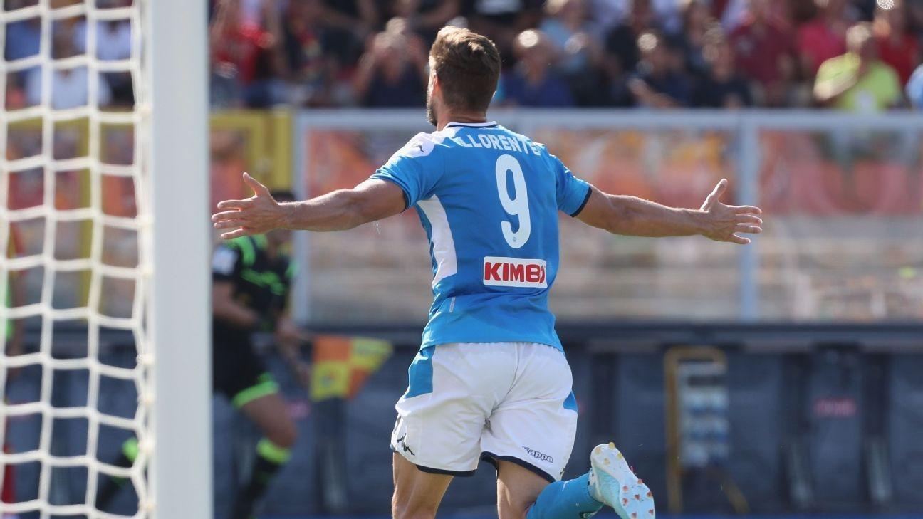 Napoli thrash Lecce, Roma grab late win at Bologna