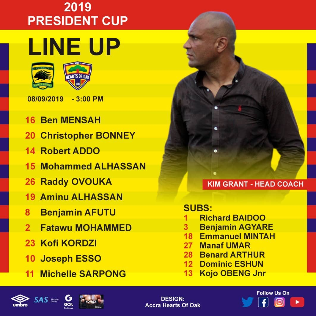 Hearts of Oak name strong starting XI to face Asante Kotoko in President's Cup