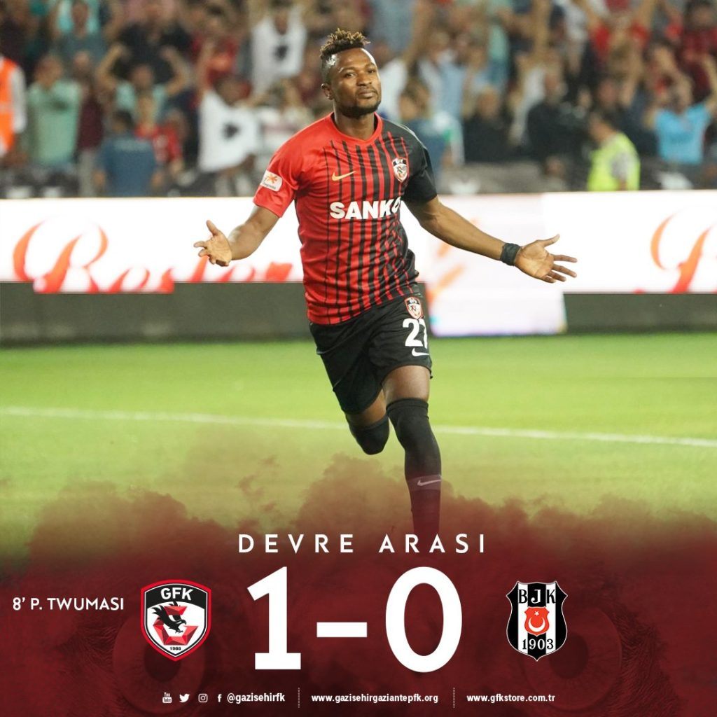 Patrick Twumasi's early penalty sets tone for Gaziantep win over Besiktas