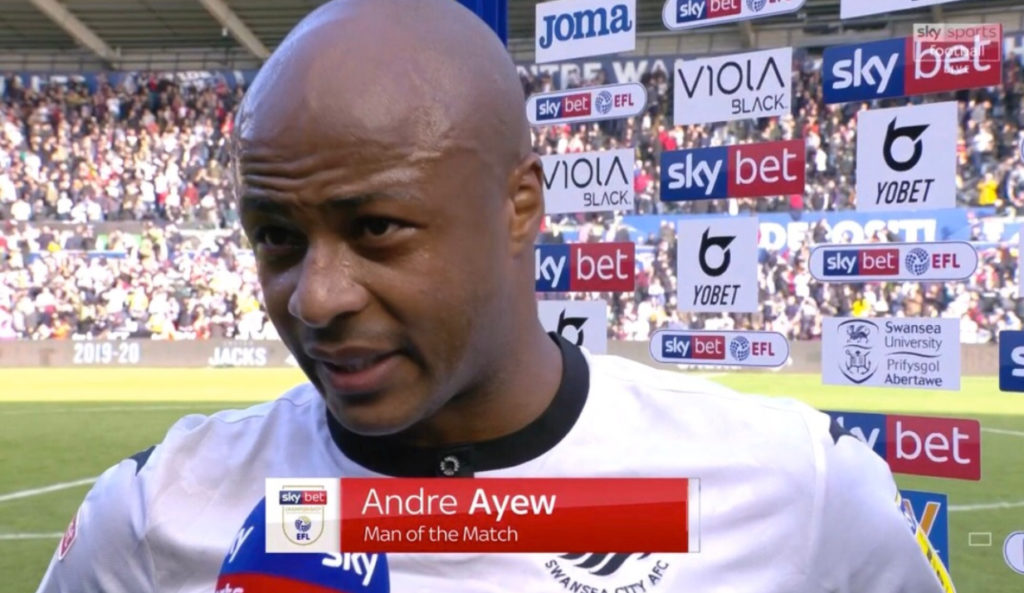 André Ayew makes Championship Team of the Week after impressive display for Swansea City
