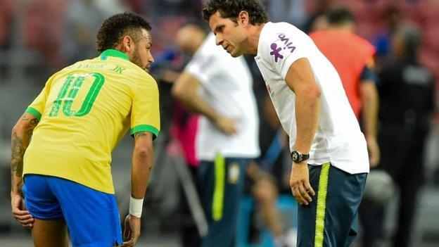 Brazil 1-1 Nigeria: Neymar limps off in first half