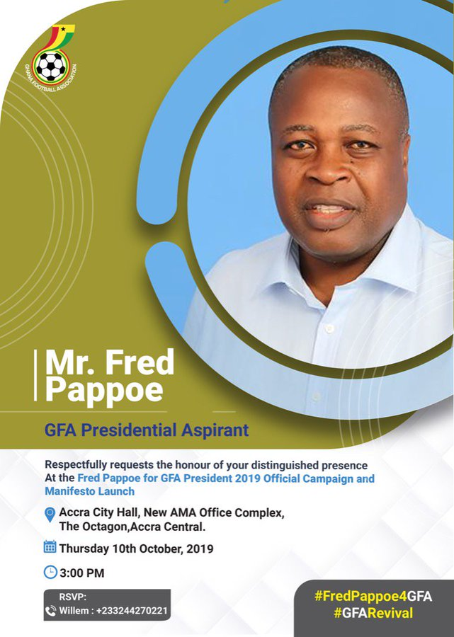 GFA Elections: Fred Pappoe to launch manifesto today