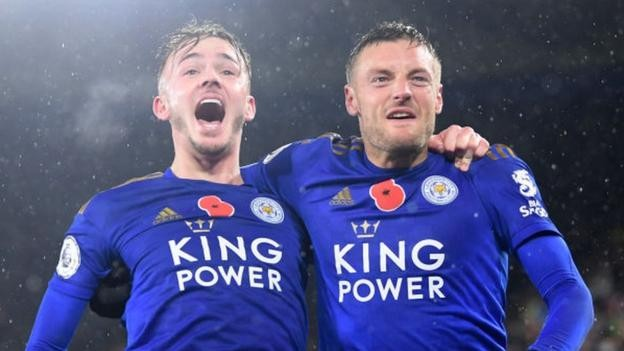 Leicester City 2-0 Arsenal: Jamie Vardy and James Maddison score to send Foxes second