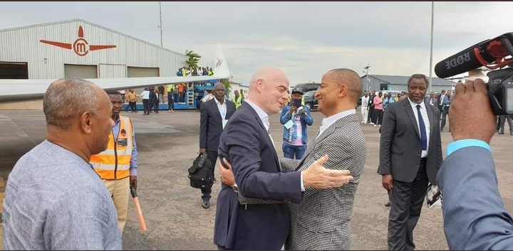 FIFA President Infantino, CAF leader Ahmad arrive in Lubumbashi for the 80th anniversary of TP Mazembe