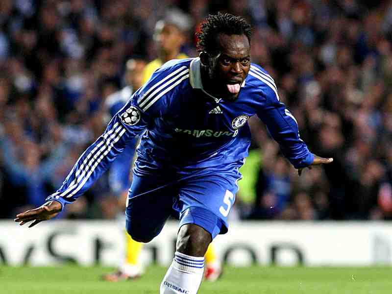 Essien celebrates one of his goals for Chelsea