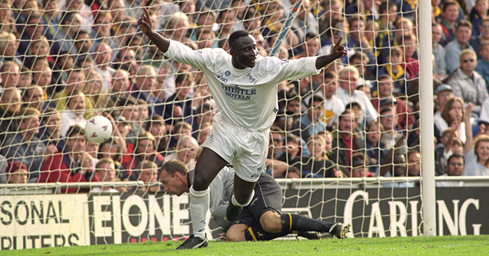 Tony Yeboah celebrates scoring for Leeds United in their 4-2 won over Wimbledon.