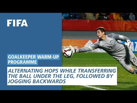 Alternating Hops While Transferring The Ball Under The Leg [Goalkeeper Warm-Up Programme]
