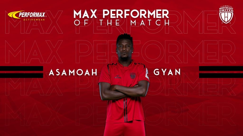 Asamoah Gyan named NorthEast United Player of the Match in draw against Kerala Blasters