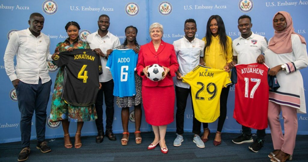 PHOTOS: MLS and Black Queens players visit US Ambassador in Accra