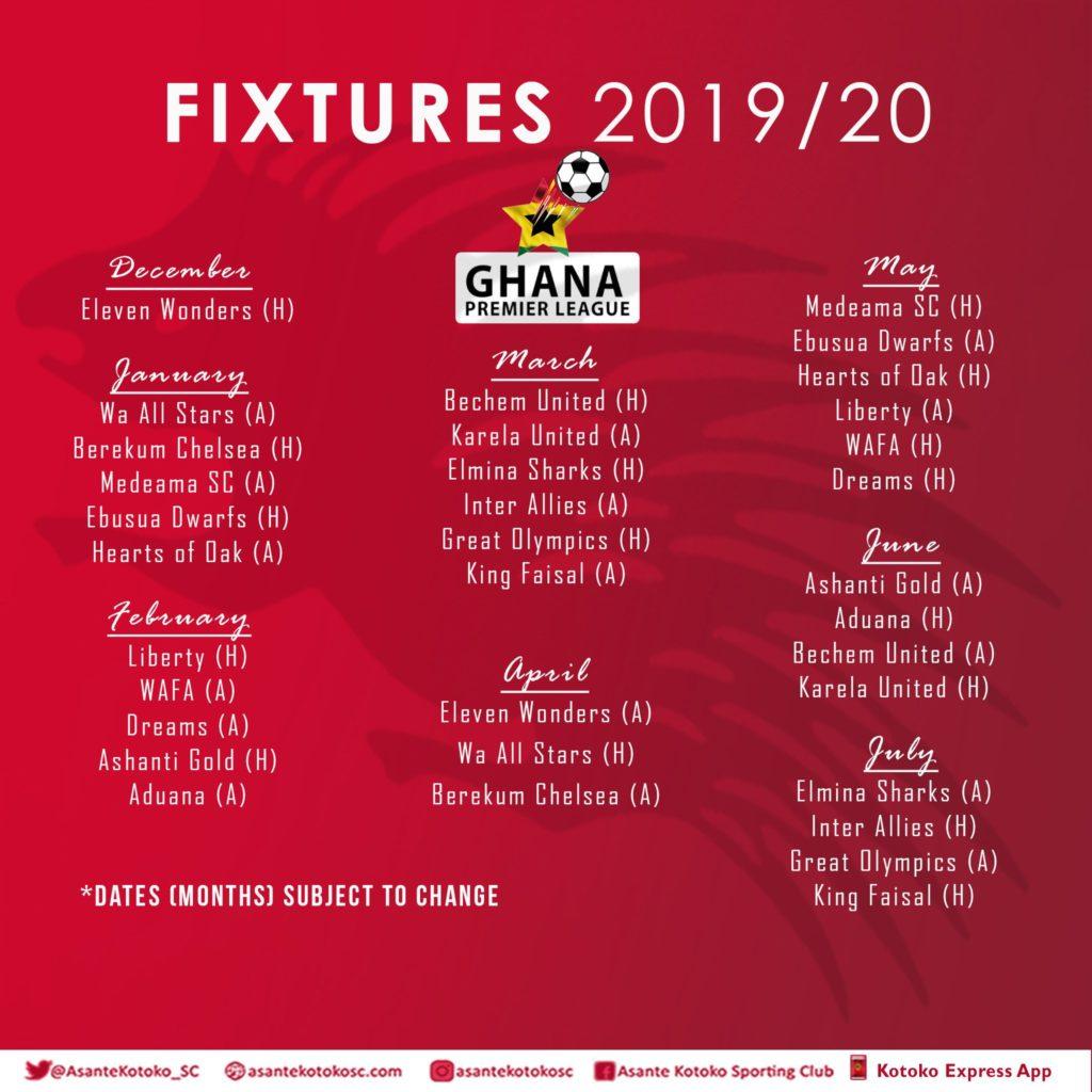 2019/20 Ghana Premier League fixtures: Kotoko full matches revealed