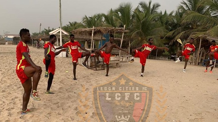Legon Cities FC work out at the beach to prepare for Dreams FC clash