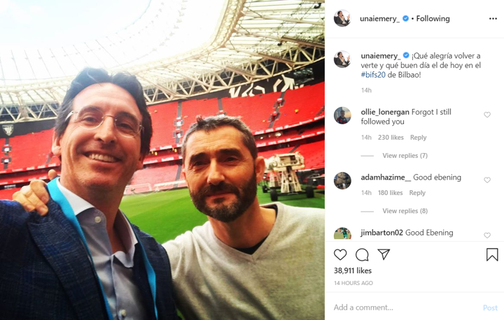 Nice to see you again! Emery & Valverde take photo together in Spain