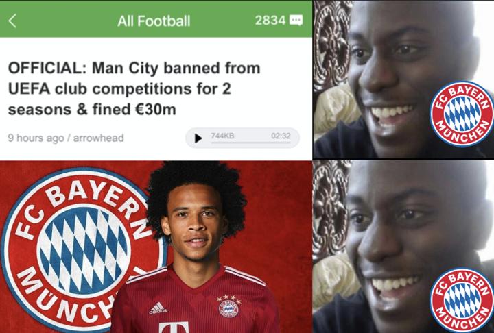 Bayern fans waking up today hearing Man City's UCL ban be like...