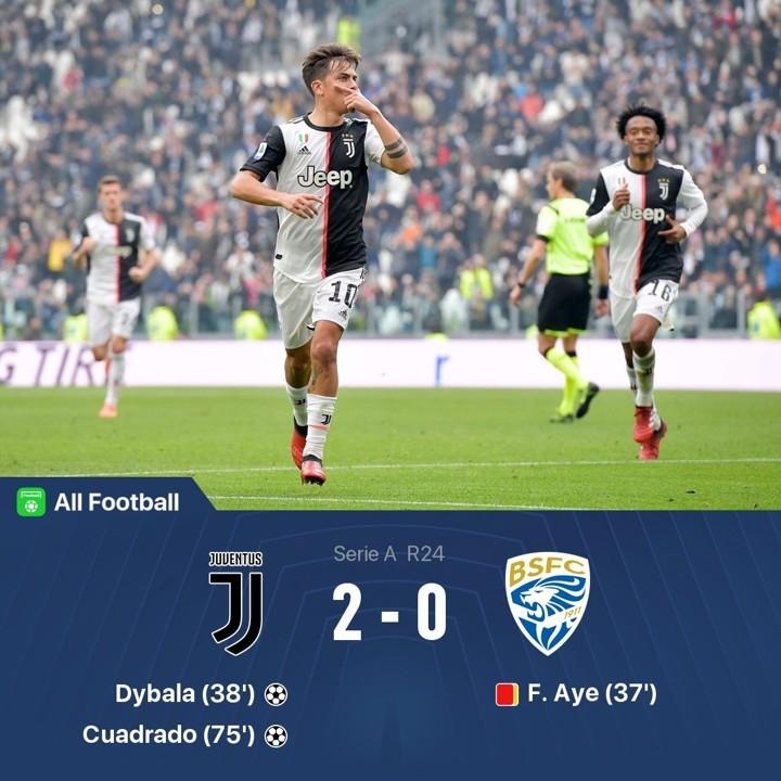 Juve 2-0 Brescia: Dybala & Cuadrado fill Ronaldo void on Chiellini return