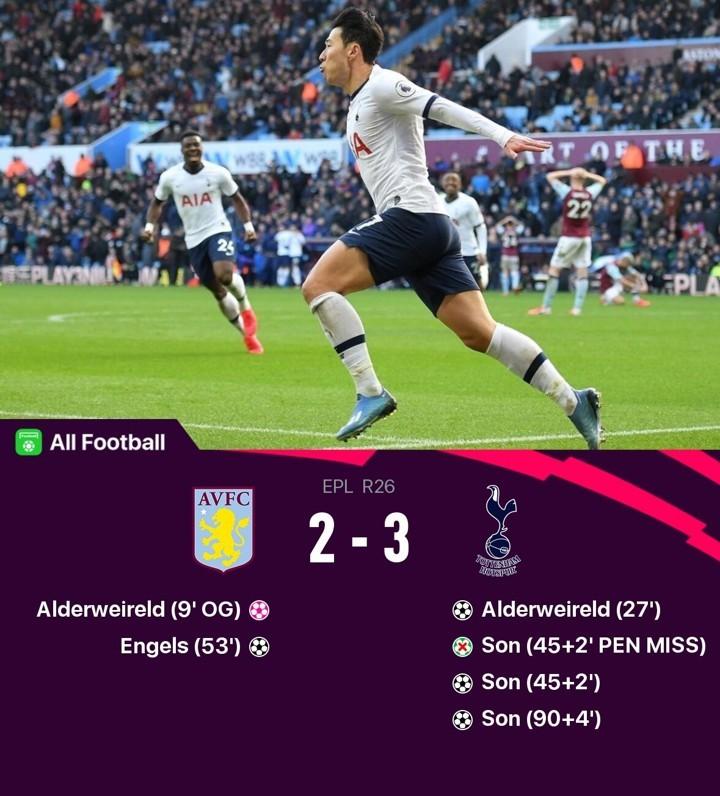 Villa 2-3 Tottenham: Sonny winner sends Spurs to 5th & only 1 pt behind top 4