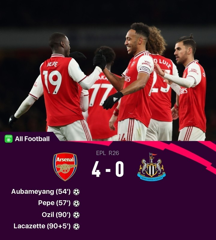 Arsenal 4-0 Newcastle: Pepe, Auba, Ozil & Laca score to seal Arteta's 2nd PL win