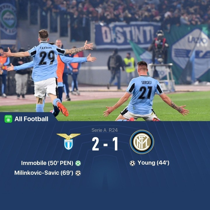 Lazio 2-1 Inter: Hosts surpass Inter at table despite Young's first Serie A goal