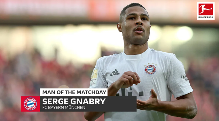 Two-goal hero Serge Gnabry named Man of the Matchday 22 in Bundesliga