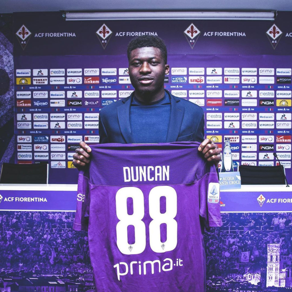 Alfred Duncan handed starting berth on debut for Fiorentina against Sampdoria