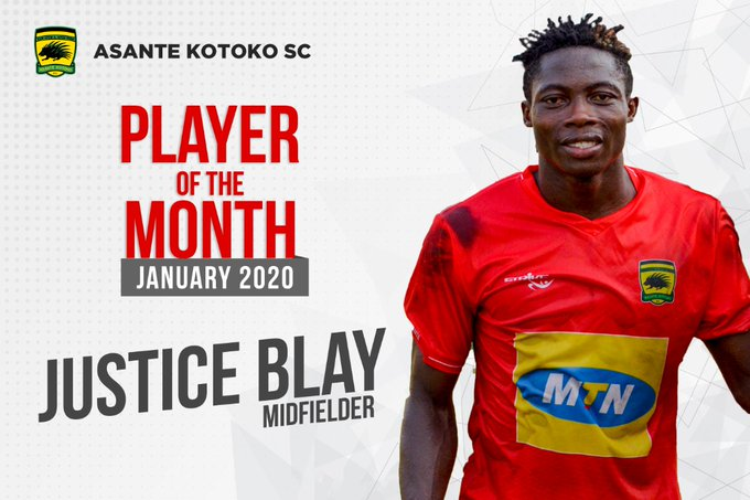 Justice Blay named Asante Kotoko player for the Month of January