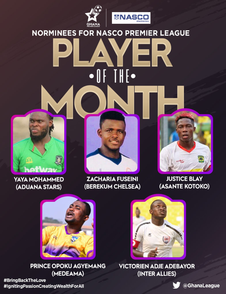 Adebayor, Blay and Yaya lead nominees for player of the Month