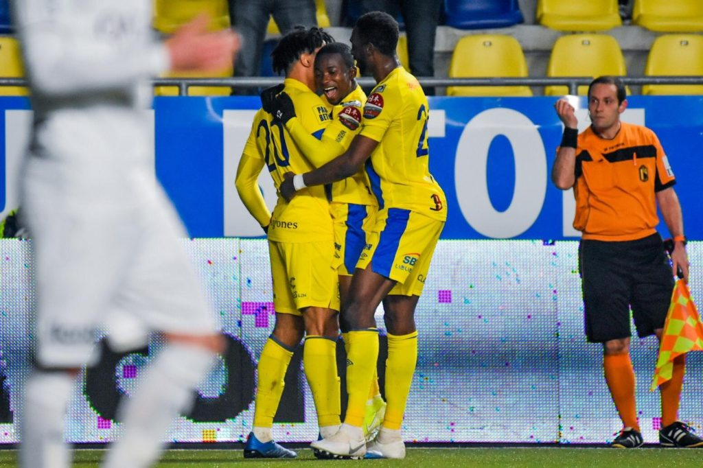 Ghana's Samuel Asamoah picks red card after scoring hat-trick for Sint Truiden against KAS Eupen