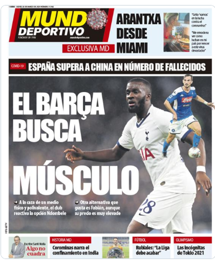 Barcelona could try to sign either Ndombele or Fabian Ruiz in summer (MD)