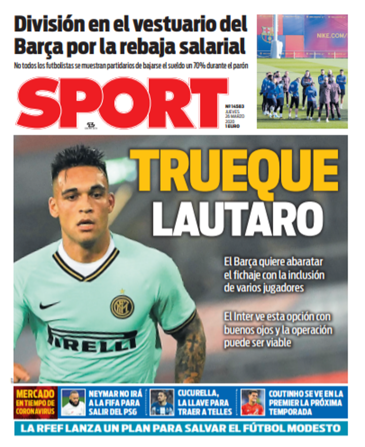 Barca want to lower asking price for Lautaro & Nerazzurri could agree (Sport)
