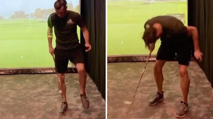 Bale's impressive skills with a golf ball