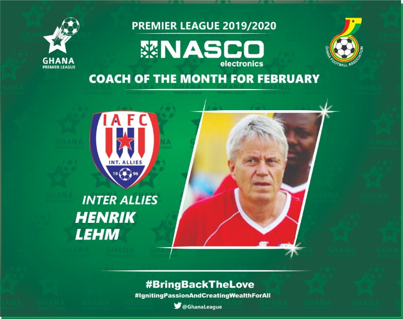 Inter Allies' Henrik Lehm Peters named NASCO coach for the month of February