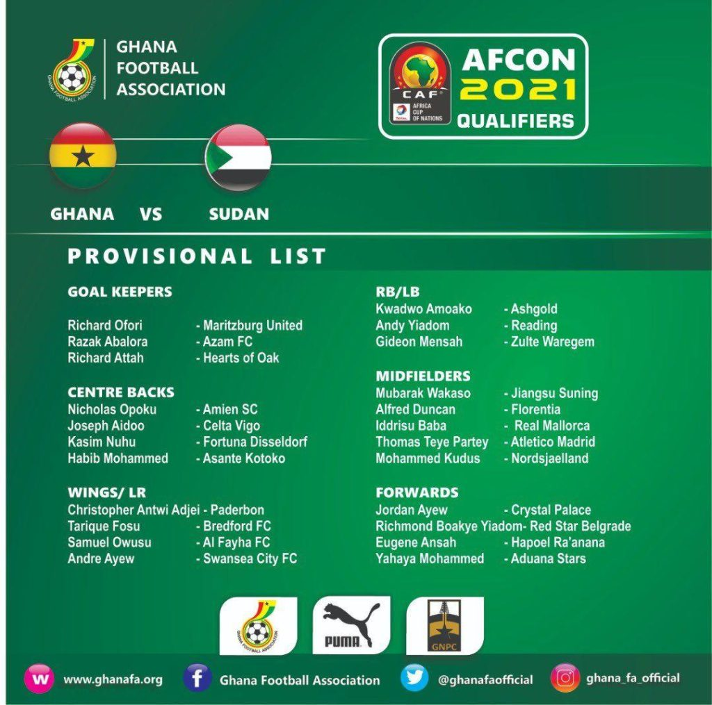C.K Akonnor to change squad for Sudan game when qualifiers resumes